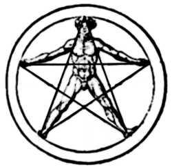 La symbolique du cinq incluant l'homme dans un pentagramme.